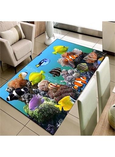 Halı Balıklar Deniz 3D Modern Dekoratif 3D Salon Halıları 80X150Cm Renkli